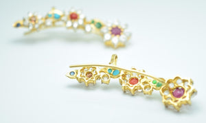 22k 22ct Solid Gold MULTI STONE CUFF LONG FLOWER Earrings Stud FREE BOX E137 - Royal Dubai Jewellers