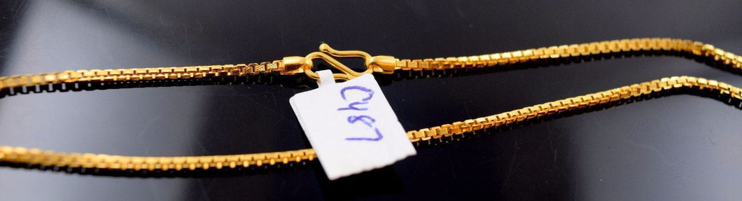 22k 22ct Yellow Solid Gold DAILY WEAR BOX LINK SHINNY CHAIN NECKLACE 20