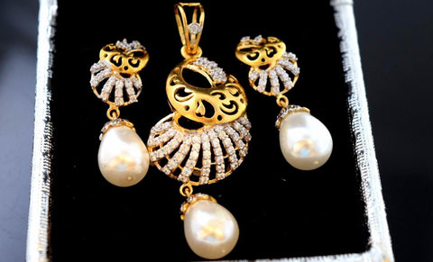 22k 22ct Solid Gold ELEGANT ZIRCONIA PEARL DESIGNER PENDANT SET EARRING s110 - Royal Dubai Jewellers