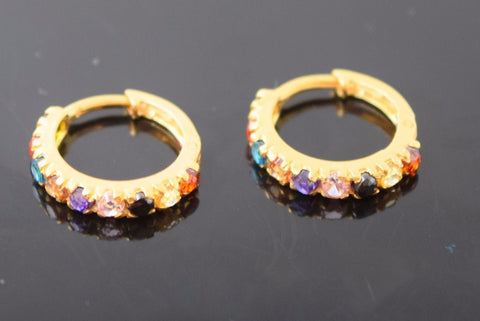 22k 22ct solid gold ELEGANT TINY MULTI COLOR HOOPS BALI EARRINGS with BOX E1343