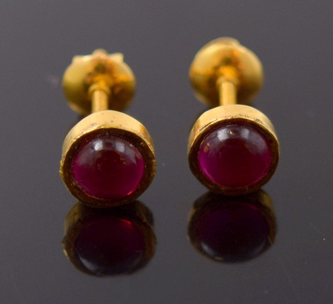 22k 22ct Solid Yellow Gold VINTAGE TINY RUBY STONE DIAMOND CUT EARRINGS E1303 - Royal Dubai Jewellers