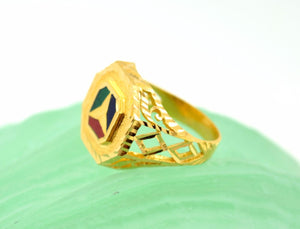 22k 22ct Solid Gold ELEGANT MENS ENAMEL DESIGNER Ring RESIZABLE size8.9 r759 - Royal Dubai Jewellers