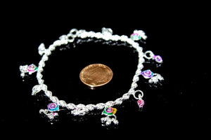 2PC HANDMADE  Solid Silver Payal 925 sbb69 Sterling adult ladies Anklets - Royal Dubai Jewellers
