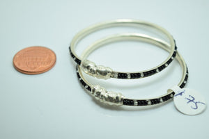 2PC HANDMADE Baby Solid Silver Bracelet 925 sb67 Sterling Children Bangle Cuff - Royal Dubai Jewellers