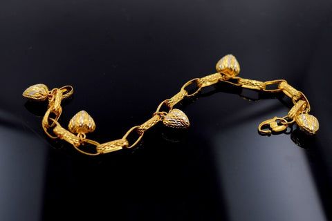 22k 22ct Solid Gold EXQUISITE WOMEN HEART RHODIUM CHARM Bracelet LGHT 7.5in B601 - Royal Dubai Jewellers