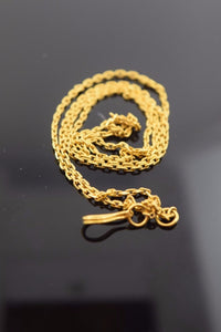 22k Yellow Solid Gold Chain Rope Necklace 1.6mm c52 with white diamond cut box - Royal Dubai Jewellers