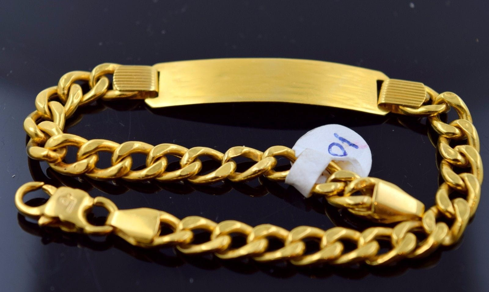 c50c7e5ada82d 22k 22ct Solid Gold DESIGNER MEN CURB LINK ENGRAVE BRACELET LENGHT 8.8in  B588 - Royal