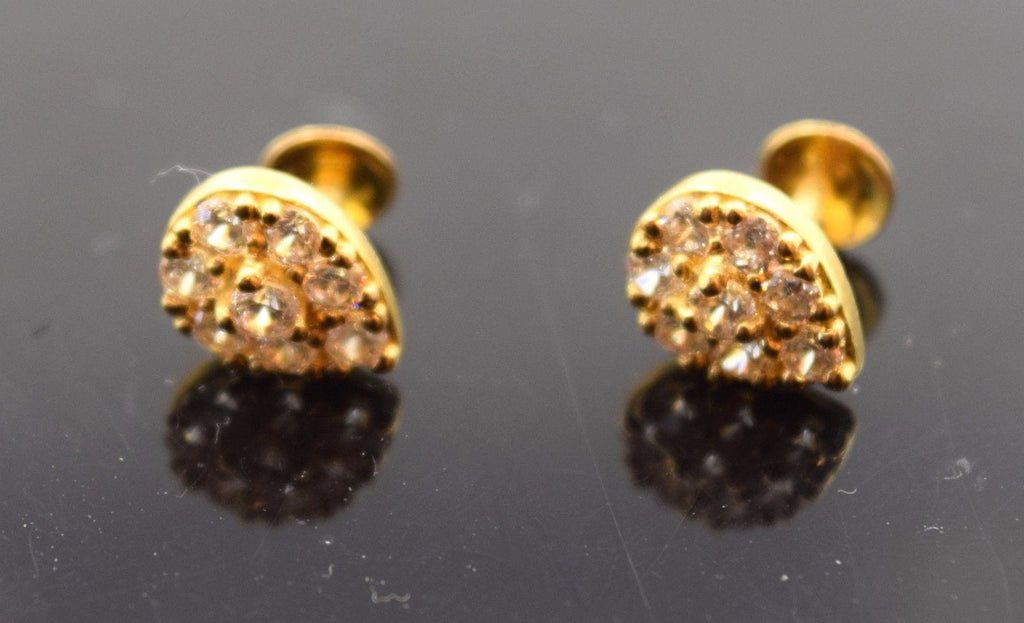 22k 22ct Solid Gold ELEGANT STONE ROUND Earrings STUD with FREE UNIQUE BOX E464 - Royal Dubai Jewellers