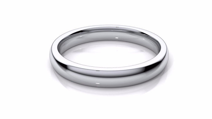 14k Solid Gold 4mm Comfort Fit Wedding Flat Band in 14k White Gold