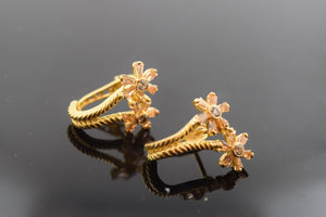 22k 22ct Solid Gold ELEGANT STONE EARRING Diamond Cut  FREE UNIQUE BOX E424 - Royal Dubai Jewellers