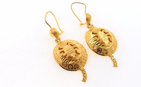 22k 22ct Solid Gold ELEGANT LONG TRADITIONAL EARRING  e1281