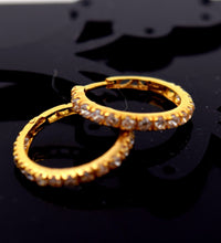 22k 22ct Solid Gold FANCY ZIRCONIA HOOP BALI EARRING WITH BOX E2007 - Royal Dubai Jewellers