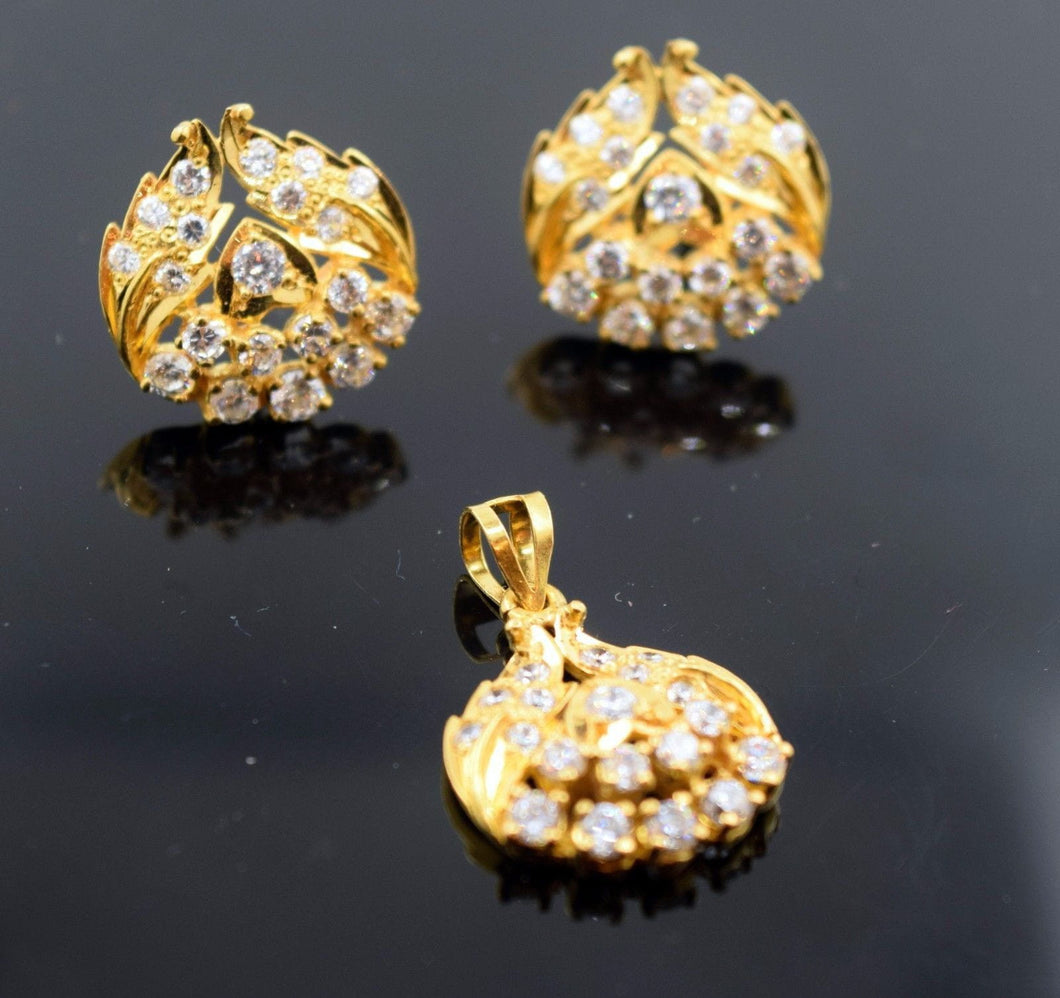 22k 22ct Solid Gold ELEGANT Pendant Set EARRING S15 - Royal Dubai Jewellers