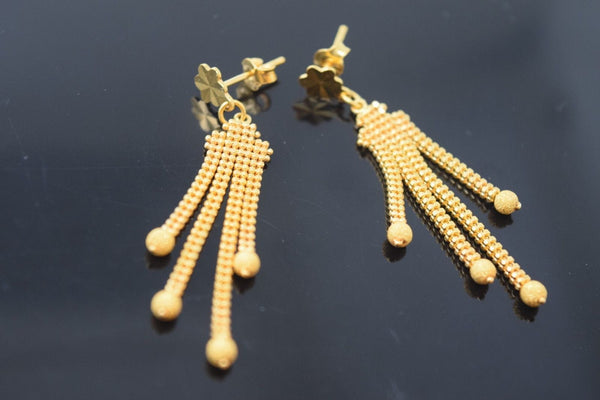 22k 22ct Solid Gold ELEGANT LONG HANGING EARRINGS with BOX E2014 - Royal Dubai Jewellers