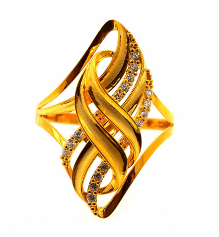 "22k 22ct Solid Gold Elegant STONE BAND Ring size 8.75 ""FREE RESIZABLE"" r633"