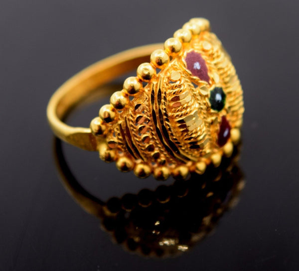 22k 22ct Solid Gold BEAUTIFUL DESIGNER ENAMEL WOMEN Ring RESIZABLE size8.6 r769 - Royal Dubai Jewellers