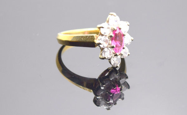 "22k 22ct Solid Gold ELEGANT PINK Stone Band Ring with unique box ""RESIZABLE"" R39 - Royal Dubai Jewellers"
