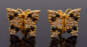 22k 22ct Solid YELLOW Gold VINTAGE ZIRCONIA BLACK STONE BUTTERFLY EARRINGS E1253 - Royal Dubai Jewellers