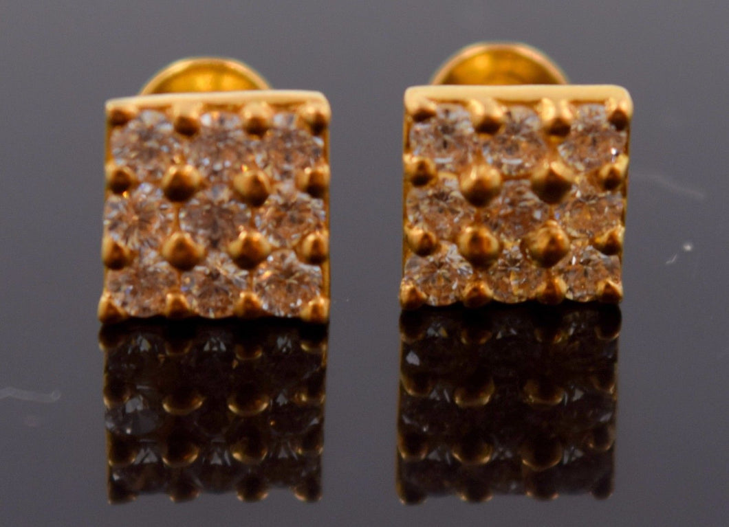 22k 22ct Solid YELLOW Gold TINY SQUARE SHAPE STONE SPARKLE STUD EARRINGS E1262 - Royal Dubai Jewellers