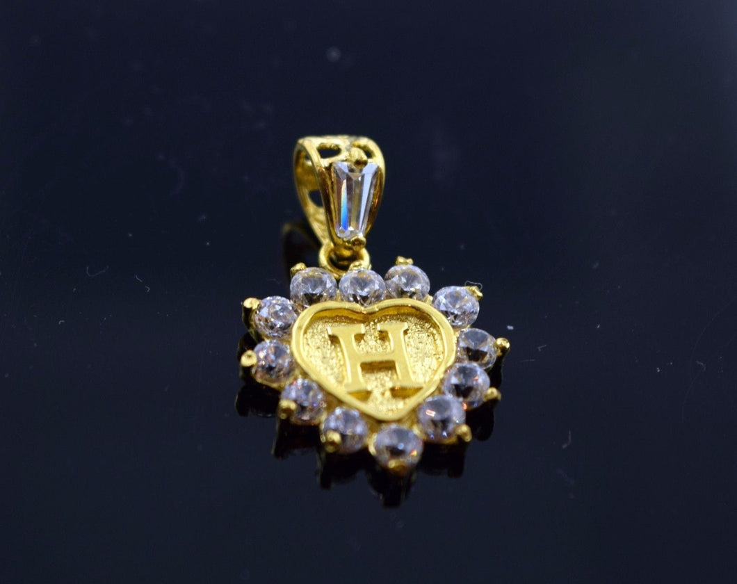 22k 22ct Solid Gold Heart Shape Pendent H letter ph1 - Royal Dubai Jewellers