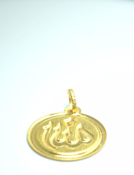 22k 22ct Solid Gold ELEGANT MUSLIM ALLAH EID ROUND PENDANT Locket FREE BOX P201 - Royal Dubai Jewellers