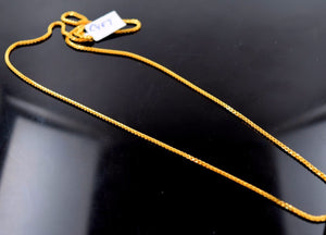 "22k 22ct Yellow Solid Gold DAILY WEAR BOX LINK SHINNY CHAIN NECKLACE 20"" c487 - Royal Dubai Jewellers"