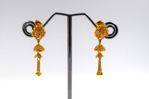 22k 22ct Solid Gold ELEGANT LONG Earrings STUD with BOX E1067
