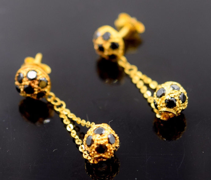 22k 22ct Solid YELLOW Gold BLACK STONE HALF ROUND CHAIN HANGING EARRINGS E1238 - Royal Dubai Jewellers