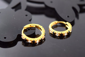 22k 22ct solid gold ELEGANT BLACK ZIRCONIA HOOPS BALI EARRINGS with BOX E1339 - Royal Dubai Jewellers