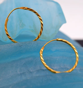 22k 22ct Solid Gold FANCY THIN MEDIUM SIZE HOOP BALI EARRING WITH BOX E2006 - Royal Dubai Jewellers