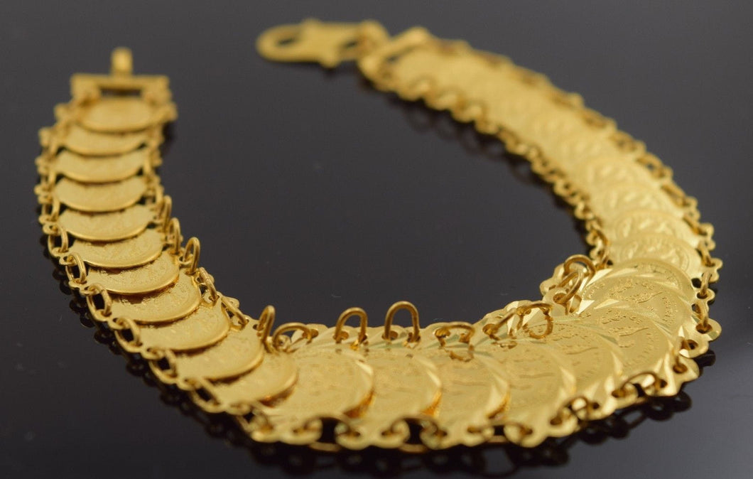 22k 22ct Solid Gold ELEGANT COIN Bracelet length 7.0 Inch with BOX CB95 - Royal Dubai Jewellers