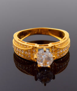 "22k 22ct Solid Gold SOLITAIRE STONE LADIES BAND Ring SIZE 7.0 ""RESIZABLE"" R685 - Royal Dubai Jewellers"