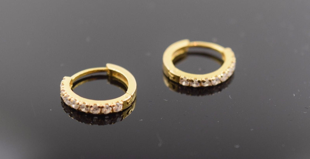 22k 22ct Solid Gold Diamond cut Hoop Earring with elegant box  e492 size .5 in - Royal Dubai Jewellers