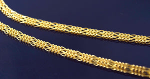 22k 22ct Solid Gold FANCY THICK FLAT DESIGNER BRAIDED Chain Necklace 3.7mm c549 - Royal Dubai Jewellers