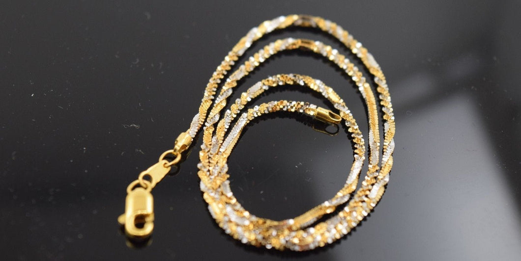 22k Yellow Solid Gold Chain Necklace 0.07mm c184 with white diamond cut box - Royal Dubai Jewellers