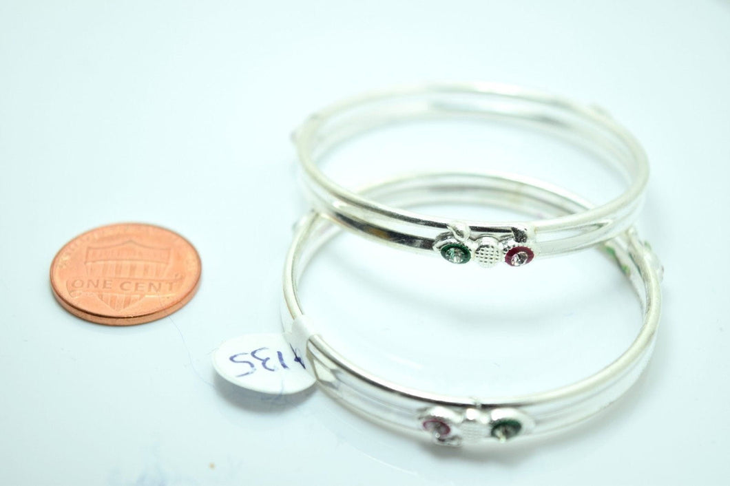 2PC HANDMADE Baby Solid Silver Bracelet 925 sb9 Sterling Children Bangle Cuff - Royal Dubai Jewellers