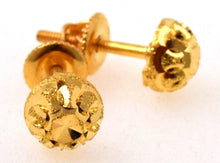 22k 22ct Solid Yellow Gold ELEGANT HALF BALL STUD DIAMOND CUT EARRINGS E1305 - Royal Dubai Jewellers
