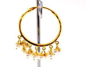 22k 22ct Solid YELLOW Gold ELEGANT NATURAL PEARL STONE HOOP BALI EARRINGS E1331 - Royal Dubai Jewellers