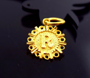 "22k 22ct Solid Gold ROUND ""R"" letter with BOX p470 - Royal Dubai Jewellers"