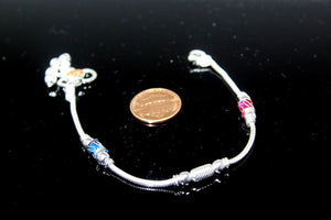 2PC HANDMADE  Solid Silver Payal 925 sbb94 Sterling adult ladies Anklets - Royal Dubai Jewellers