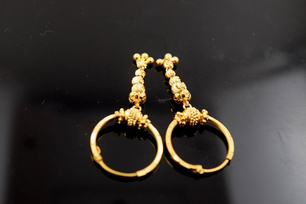 22k 22ct Solid Gold Diamond cut Hoop Earring with elegant box  e420 size .75 in - Royal Dubai Jewellers