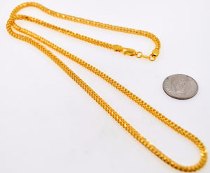 22k 22ct Solid Gold FANCY THICK BRAIDED HERRINGBONE Chain Necklace 2.8mm c552 - Royal Dubai Jewellers