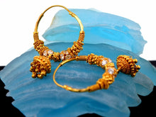 22k 22ct Solid Gold FANCY ZIRCONIA BALL BEADS HOOP JHUMKE BALI EARRING E2002 - Royal Dubai Jewellers