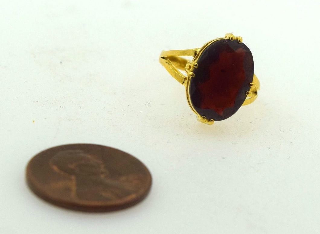22k 22ct Solid Gold ELEGANT GOMED HESSONITE Ring BAND with Box