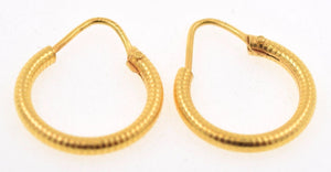 22k 22ct Solid YELLOW Gold ELEGANT HOOP EARRINGS E1294 - Royal Dubai Jewellers