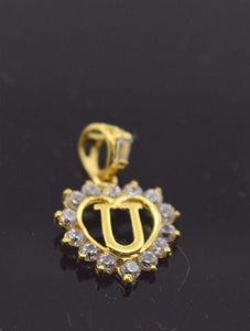 "22k 22ct Solid Gold STONE ""U"" LETTER HEART ALPHABET Pendant free box P342 - Royal Dubai Jewellers"