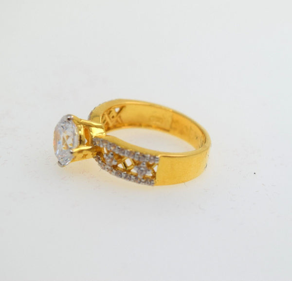 22k 22ct Solid Gold ELEGANT SOLITAIRE Stone RING BAND BOX No Resizable R477 - Royal Dubai Jewellers