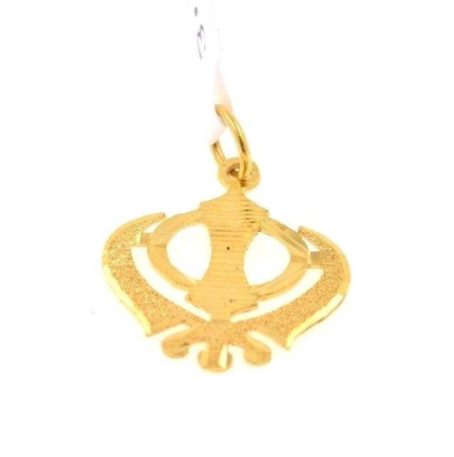 22k 22ct Solid Gold Sikh Singh Punjabi SIKHI KHANDA 3D Raised Pendant P446 - Royal Dubai Jewellers