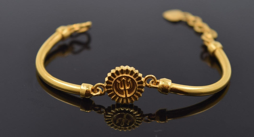 22k 22ct Solid Gold ELEGANT TRISHUL BABY KID BRACELET bangle cuff cb305 - Royal Dubai Jewellers