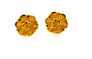 22k 22ct Solid Gold ELEGANT SMALL Earrings STUD with box E1138 - Royal Dubai Jewellers